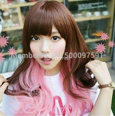 TJ&amp;FY****** Lolita Long Wavy Hair Harajuku Brown Pink Mixed Kawaii Party Cosplay Wig<br><br>Aliexpress