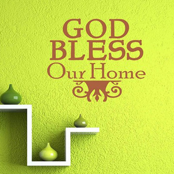 God Bless Our Home Christian Religious Wall Stickers Family Decal Kitchen Living Room Decoration