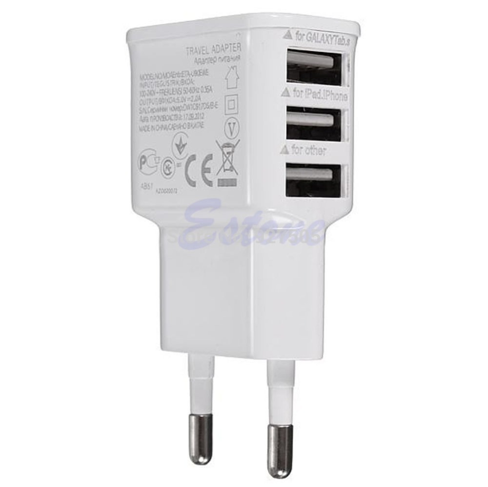 hot-selling 3 Ports EU Plug USB Wall Travel AC Charger Adapter For Phone free shipping(China (Mainland))