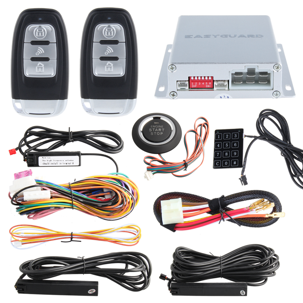 Universal PKE car alarm system with auto start smart push engine start & touch password entry backup hopping code, push button(China (Mainland))