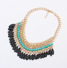 Bohemian Tassels Drop Vintage Gold Choker Chain Neon Bib Statement Necklaces Pendants Fashion Jewelry For Woman