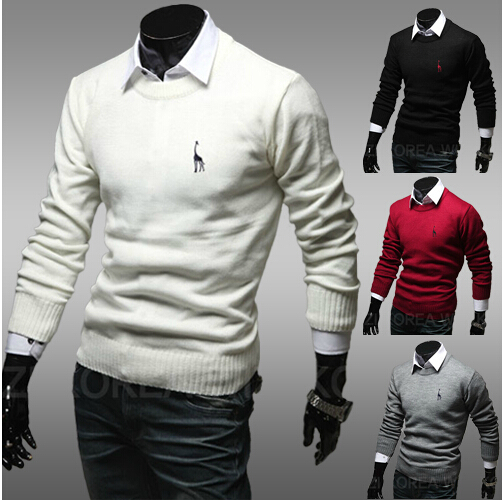 2014 Brand New Fall Fashion Men's Pullover Polo Sweater Deer Embroidery Mens Sweaters M ~ XXL 4 color ZQ19(China (Mainland))