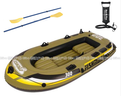 Jilong 2 adult+1 child preson inflatable fishing boat PVC air kayak 252*125*40cm,include two seat+a pair of oars+hand pump(China (Mainland))