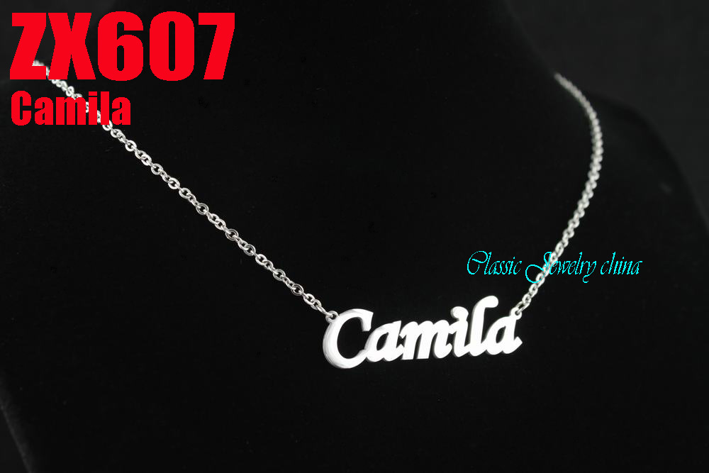 Camila The World Cup letter chain with 2mm cross chain 18-26 length stainless steel necklace lady jewelry 20pcs ZX607<br><br>Aliexpress