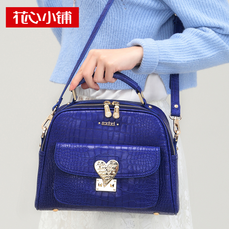 Axixi Strap Crocodile Pattern Lock Portable Fashion Handbags Women Leather Shoulder Messenger Bag Lady Casual Party Blue Tote(China (Mainland))