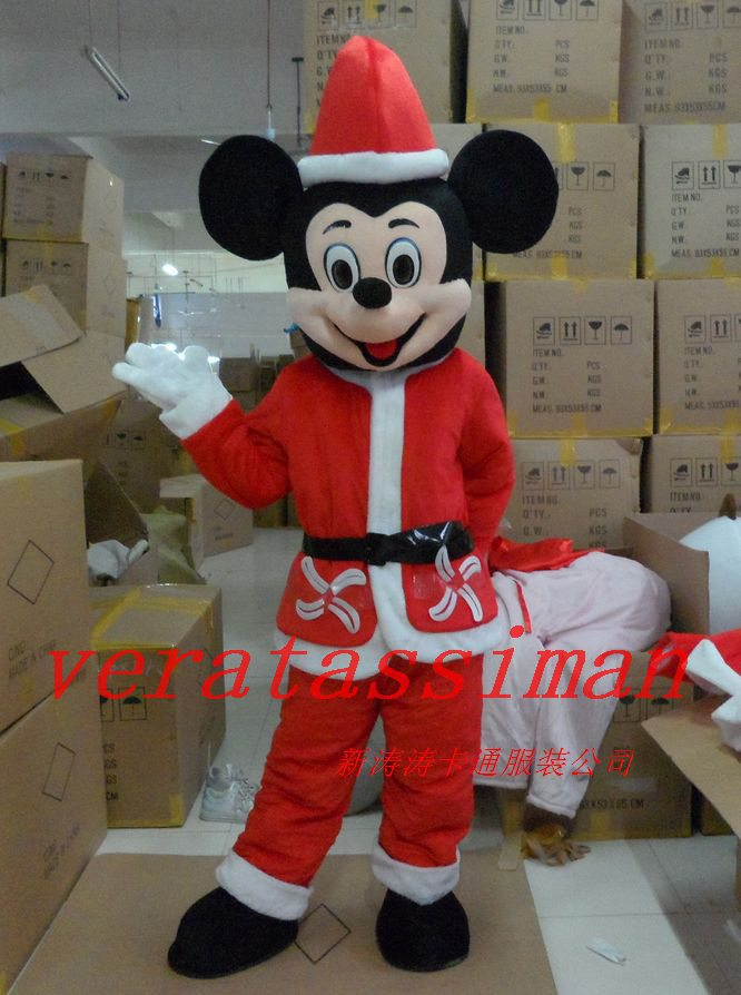 Hot Sale Mickey Mouse Mascot Costume red Christmas style Cartoon Adult Size Halloween Costumes Costumes Christmas costume(China (Mainland))