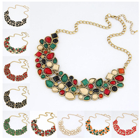 9 Colors Charm Luxury Western Style Chunky Hollow Acrylic Pendant Necklace Women Vintage Choker Necklace Jewelry For Women PT33