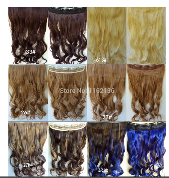 2014 color M2/30# long wavy clip-in on hair extension synthetic 5 clips in hairpieces Euro Trend 120grams 60cm(24 inch) 1pcs<br><br>Aliexpress