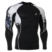 Men Running Sport Clothes Tight Skin Compression Shirts Long Sleeves Double Sides 3D Prints Male Breathable Quick Dry T-Shirts