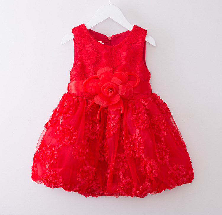 2016 brand lace satin birthday party girl dress summer 2-6 age floral baby girls dress kids clothes vestidos de menina red(China (Mainland))