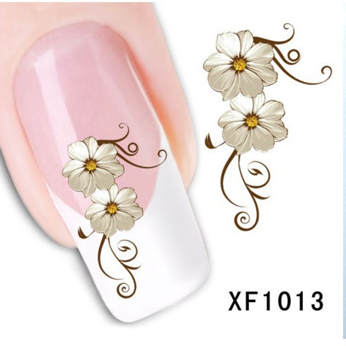 [D-XFXF1013]1 Sheet Fashion 3D Design Daisy Flower Watermark Nail Decals, DIY Water Transfer Nail Stickers Manicure Tools(China (Mainland))