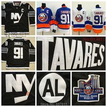 Hombres New York Islanders Hockey Jerseys #91 John Tavares Jersey Royal Blue 2015 nuevo negro auténtico cosido Jersey C Patch(China (Mainland))