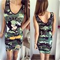 Free Shipping 2016 Summer Style Women Dress Army Green Mickey Printed Sleeveless Sexy Slim Bodycon Office