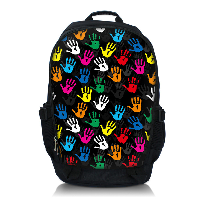 Colorful Hands 15.6 Inch Netbook / Notebook / Laptop Backpack Bag School Travel Sports Bag Bookbag Worldwide(China (Mainland))