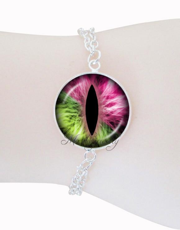 Cat eye bracelet silver hand chain bracelets for men women dragon eye jewelry evil eye pulseras glass cabochon pendant jewellery(China (Mainland))