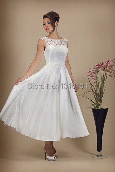 Popular simple wedding dresses second wedding buy cheap for Simple tea length wedding dresses