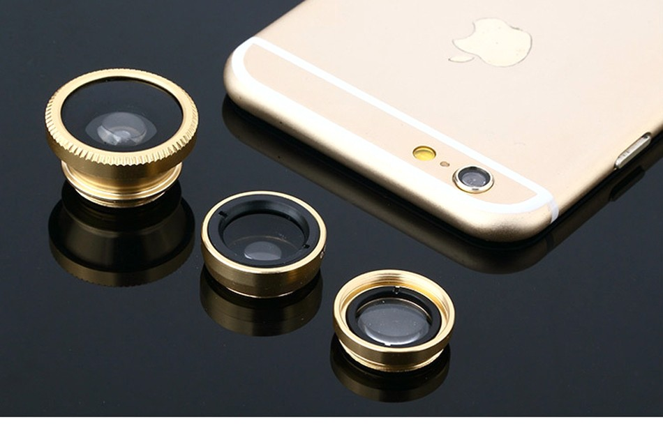 Fish eye universal 3 in 1 mobile phone chip lenses fisheye wide angle macro camera for iphone 6s plus 5s/5 htc samsung S6 S5 S4