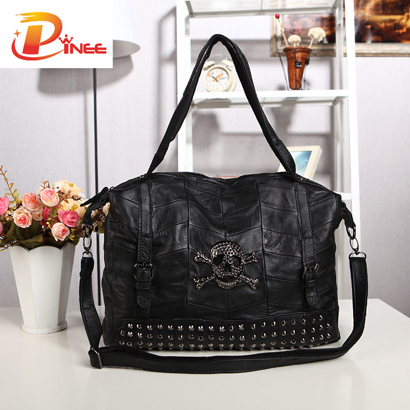 Top Fashion Large Women Handbags Shoulder Bags Genuine Leather Skull And Rivets Design<br><br>Aliexpress