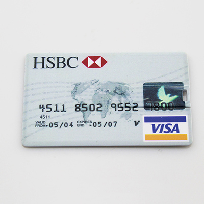 Retail slim HSBC VISA Credit Card shape USB Flash Drive Pen Drive usb Card Memory Stick Pendrive 2G 4G 8G 16G 32G Free shipping(China (Mainland))