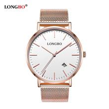 LONGBO Mens Top Brand Luxury Fashion Watch Men Ultra Thin Gold Steel Mesh Watches Women Dress Quartz Lovers Watch orologio uomo(China (Mainland))