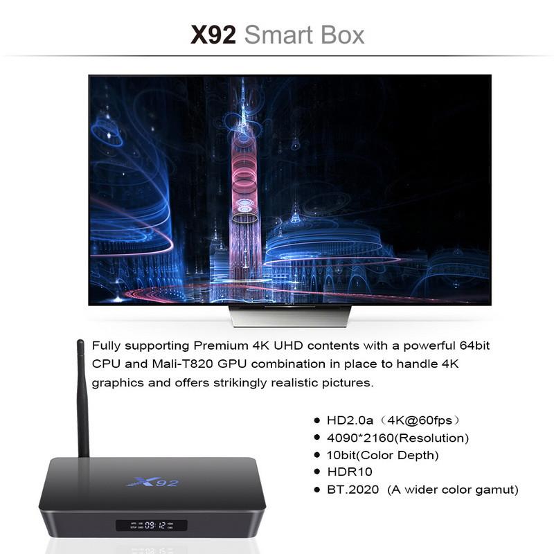 ถูก X92 Amlogic S912 Octa-Core 64-bit Android 6.0ทีวีกล่อง2กรัม16กรัม2.4/5.8กรัมคู่Wifi HDMI 4พันVP9 H.265 BT4.0 KODIสมาร์ทสื่อเครื่องเล่น