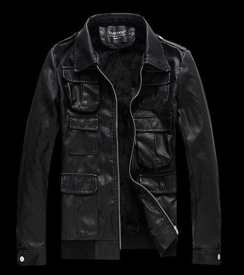 Фотография Watch ! Vintage winter thick short leather jacket locomotive leather coat men