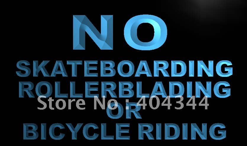LN841- No Skateboarding Rollerblading Bicycle Neon Sign home decor crafts(China (Mainland))