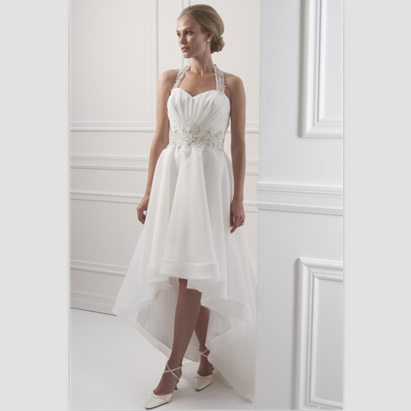 Beach Wedding Dresses Short In Front Long In Back : White chiffon beach wedding dress short front long back