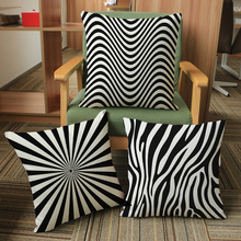 Striped Black And White Geometric Print Cushion Cover