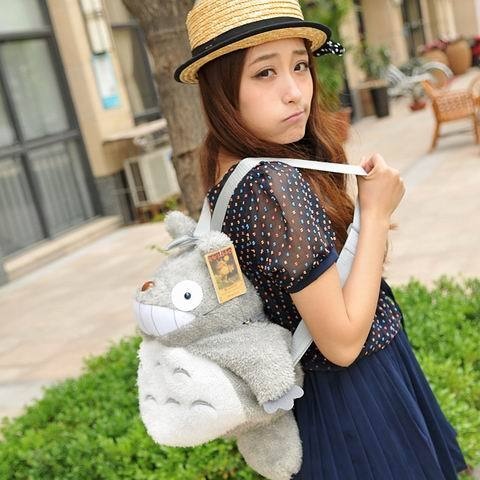 Free shipping New year gift totoro series of totoro plush bags backpack S size 35*30cm, plush gift toy(China (Mainland))