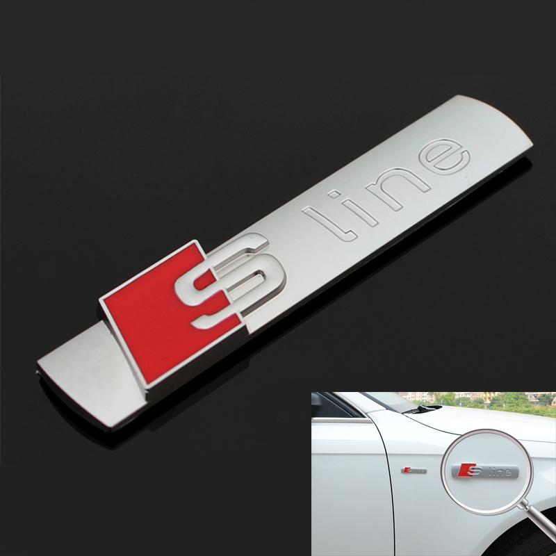 3D Metal Sline S line Fender Emblem Decal Sticker Badge Car Styling For Audi A1 A3 A4 A5 A6 A7 A8 Q3 Q5 Q7 S3 S4 S5 S6 S7 S8 TT(China (Mainland))