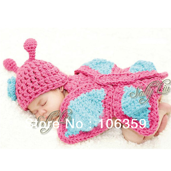 Baby Butterfly Hat Cape Costume Set Girl Newborn Photography Props Infant Crochet Animal Beanie Hat 1set H006(China (Mainland))