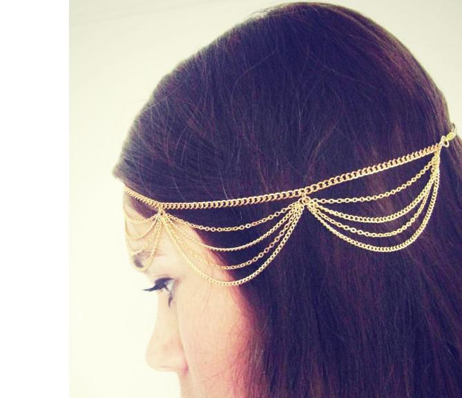 Beach Multi Layer Head Chain Hair Jewelry Tassel Pearl Leaves Bindi hair accesories Boho Headband Wholesale 12pcs/lot A4R22C(China (Mainland))