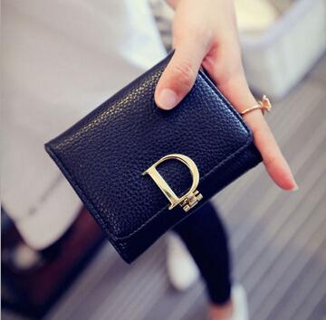 2015 New fashion lady purse column D letter buckle simple female purse folded short paragraph  women wallets Coin Purse dh226<br><br>Aliexpress