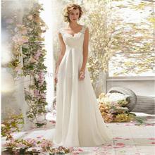 2015 elegante una linea in rilievo open back v neck white lace wedding dress gown/bridal(China (Mainland))