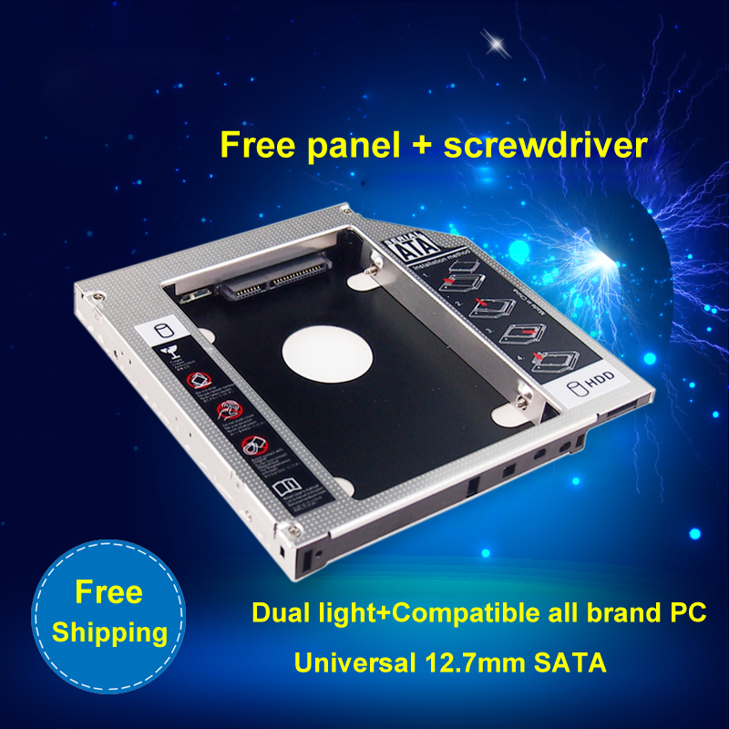 """Universal 2nd Aluminum HDD Caddy SATA 3.0 12.7mm for 2.5"""" SSD Case HDD Enclosure for Notebook CD-ROM hard drive bracket(China (Mainland))"""