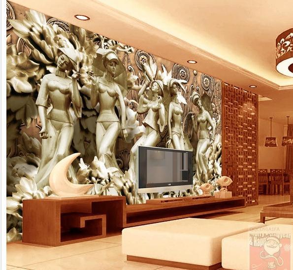 Customize wallpaper papel de parede Rose Three-dimensional figure bronze sculpture mural 3d wallpaper Free shipping5060(China (Mainland))