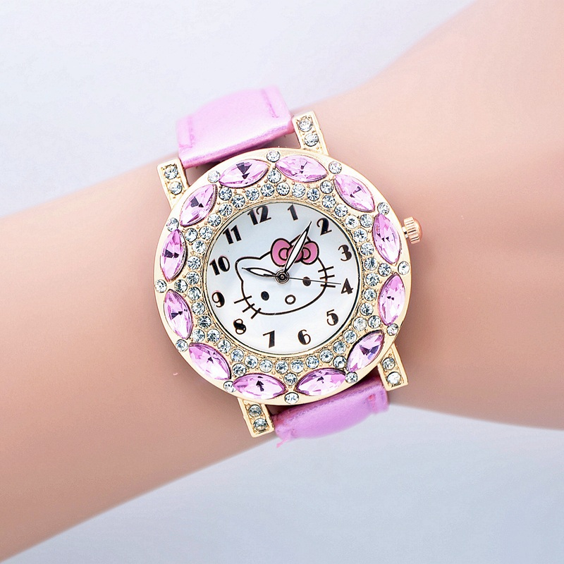 2016 New Fashion hello kitty watch girl kids women leather strap dress watches quart rhinestone quart wristwatches(China (Mainland))
