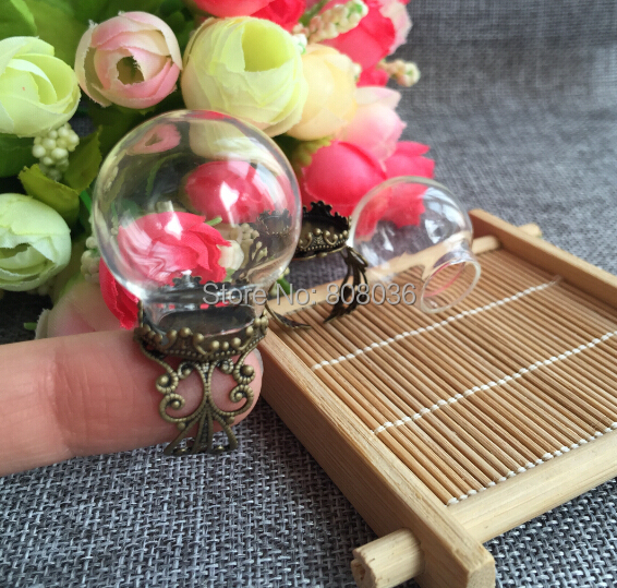 Free Shipping Fashion 20sets/lot 25*15mm Glass Cover Glass Bulb Vial &Antique Crown Finger Ring Set DIY Glass Vial Ring pendant(China (Mainland))