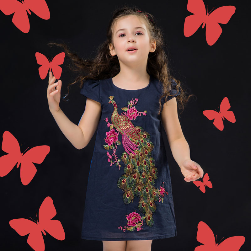 Girls Dresses Summer 2016 New Baby Girls Embroidery Dresses Princess Kids Peacock Dresses for Girls Toddler Girl Clothing(China (Mainland))