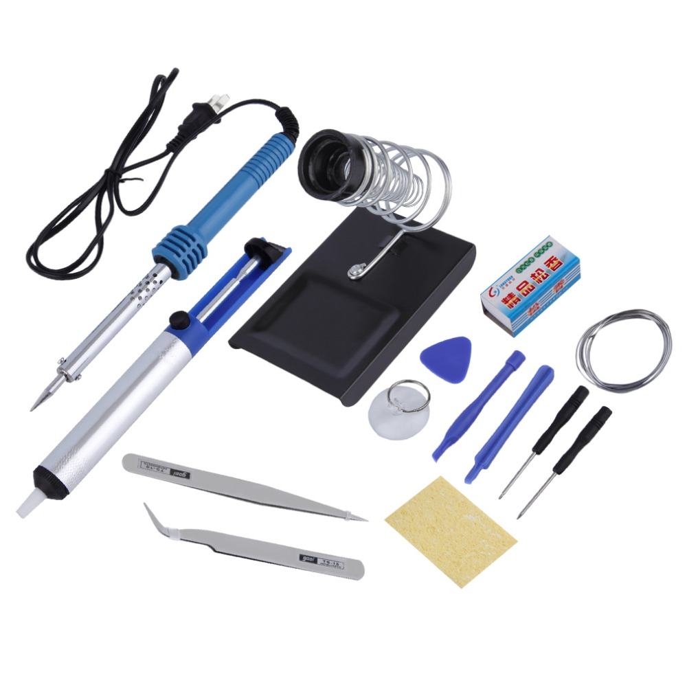 free shipping 14in1 60w diy electric solder soldering iron starter tool kit set irons stand. Black Bedroom Furniture Sets. Home Design Ideas