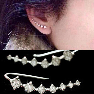 One PAIRS Ear Cuff Wrap Crystal Earrings Newest High Quality Summer Style Ear Cuff Piercing Clip Earrings Jewelry For Women(China (Mainland))