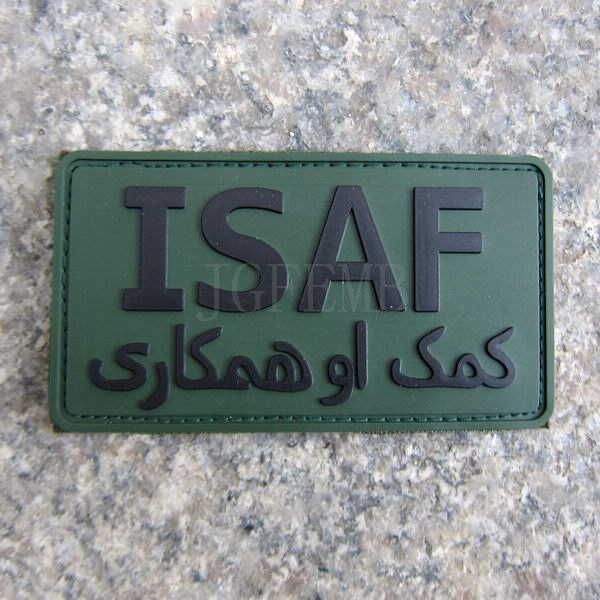 Green ISAF International Security Assistance Force Military Tactical Morale 3D PVC Patch Badges PB318(China (Mainland))