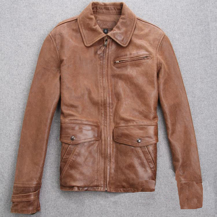 202017 new men's retro motorcycle leather jacket Spring and Autumn Slim short section lapel jacket ZY246