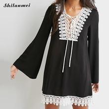 2017 fashion women boho tassel lace dress Sexy crochet tunic beach free shipping lady dresses Black chiffion vestidos plus size(China (Mainland))