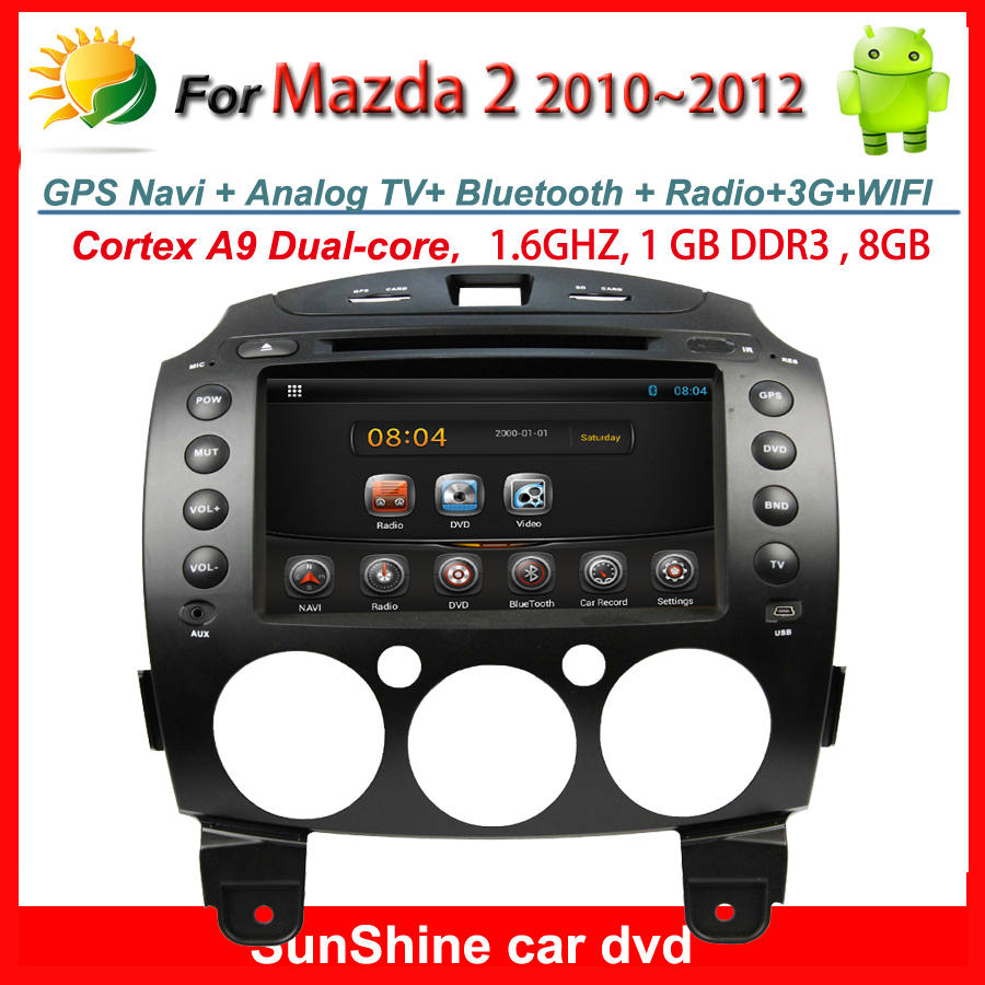 "2 din 8"" HD Capacitive touch screen Car dvd Mazda 2 android gps navigation TV 3G WIFI OBD USB SD Radio Bluetooth Free map card(China (Mainland))"