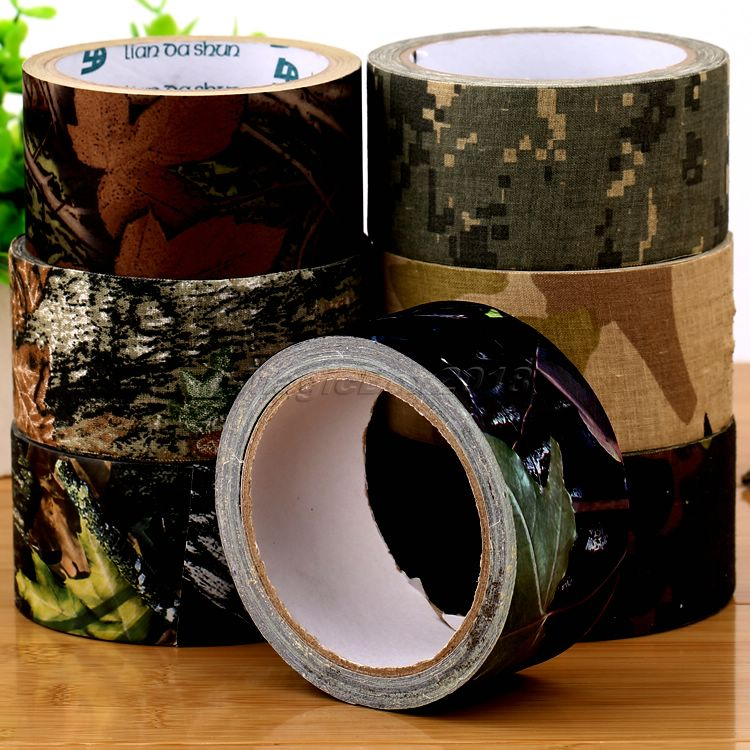 Camouflage Equipment10m Outdoor Hunting Tactical Military Camping Waterproof Camo Wrap Rifle Shooting Stealth Duct Tape(China (Mainland))