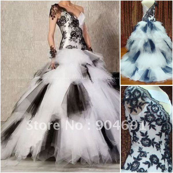 Unique fitted lace top ruffled tulle skirt ball gown short for Black and white wedding dresses with sleeves