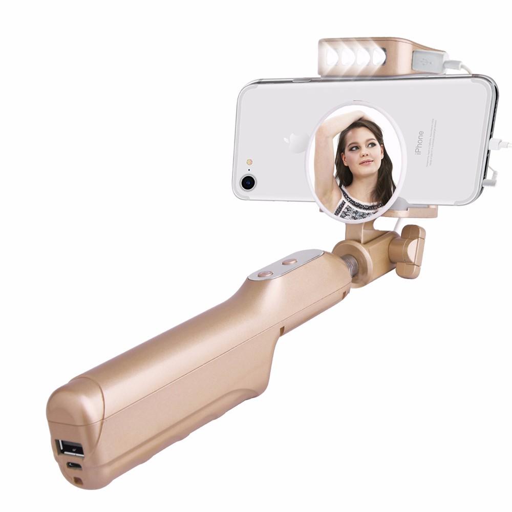 ถูก ยืดselfieติดในตัว3200มิลลิแอมป์ชั่วโมงธนาคารอำนาจถ่ายภาพตนเองmonopodกับด้านหลังกระจก4 ledเติมไฟสำหรับiphoneโทรศัพท์