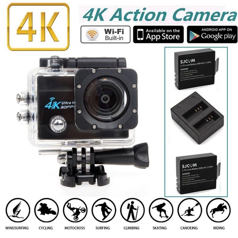 Free shipping! 4K HD WiFi Sports Action Camera 2.0'' LCD 16MP +Dual Charger Battery Kits(China (Mainland))